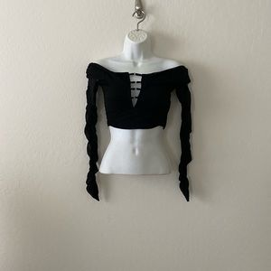 TIGER MIST CROP TOP LONG SLEEVE SIZE M HOOPED